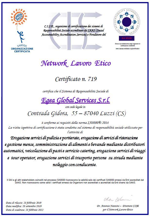 Certificazione SA8000 Egea