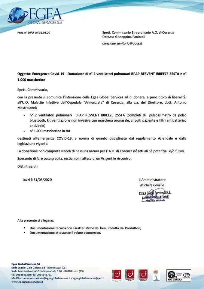 Lettera donazione Egea