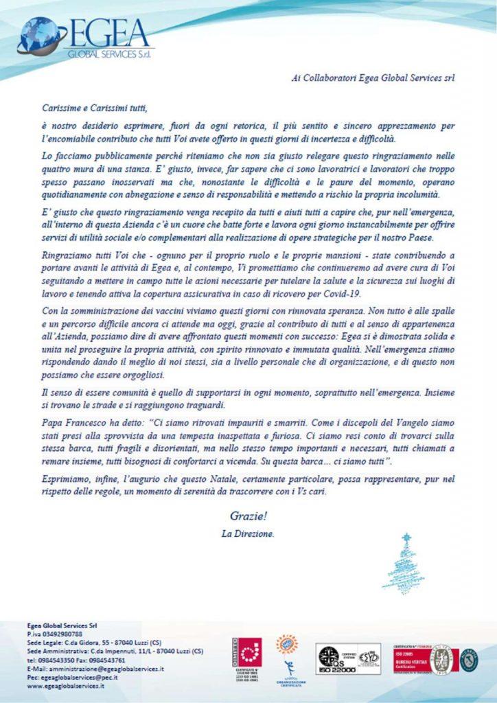Lettera ringraziamento staff Egea 2020